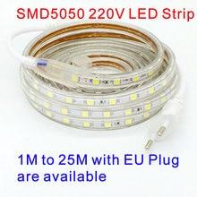 Tira LED Bande 220V LEDstrip 5050 220V LED Strip Ruban LED 220V Waterproof SMD 5050 LED Strip Light 20M 25M