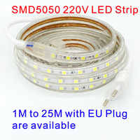 Tira LED Bande 220V LEDstrip 5050 220V LED Strip Ruban LED 220V Waterproof SMD 5050 LED Strip Light 20M 25M