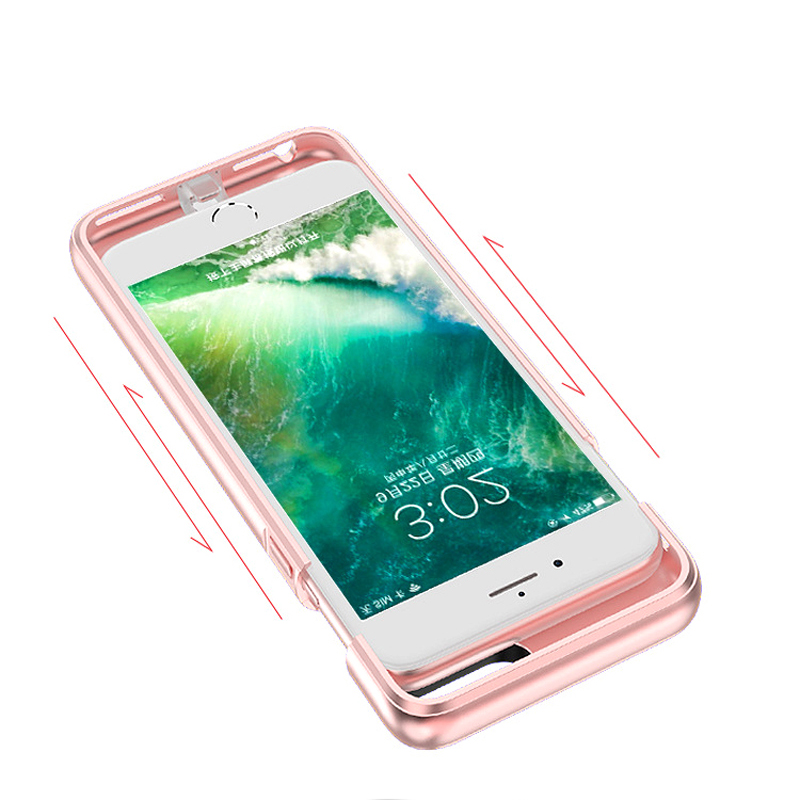 For iPhone 6 6s 7 External Battery Charger Case Cell Phone Power Bank Powerbank Charging Case Cover Built in Metal Sheet
