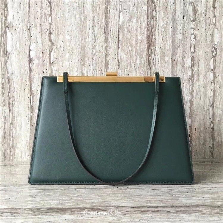 eb608bc460 Marque Poignée Cadre burgundy Véritable Femmes Sac Luxe Sacs Main green  Automne Pochette Designer Black Et ...