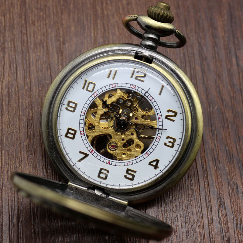 Luxury Hollow Retro Chinese Knot Style Skeleton Hand Wind Mechanical Pocket Watch With White Dial Pendant Clock for Men Woman new black skeleton five star luxury hot stylish retro cool crown pattern hand wind mechanical pocket watch supernatural gift