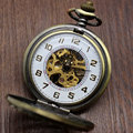 Retro Chinese Knot Skeleton Hand Wind Mechanical Pocket Watch With White Dial P836C