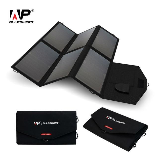 ALLPOWERS Portable Solar Panel Solar Battery 5V 12V 18V 36W Multi Use for iPhone xiaomi iPad 12V Car Battery 18~19V Laptops etc.