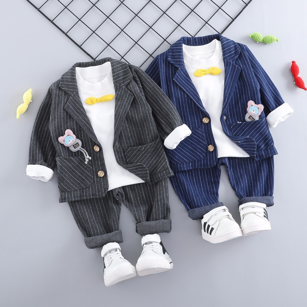ZWXLHH 2019 Spring Baby Boys Clothes Set  Kids Children Stripe Clothing Suits  Coat+ T Shirt +Pants Toddler  Infant Casual Suit