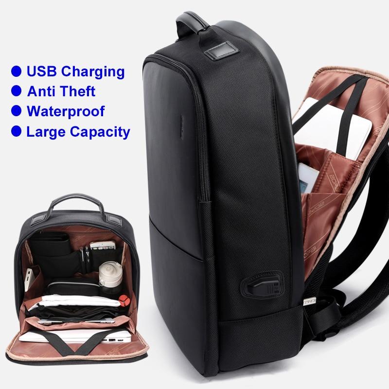 BOPAI Anti Theft Notebook Backpack External USB Port Men Leather ...