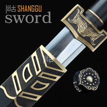 Exquisite Handmade Black Gold Antique Oriental Sword. Carbon Chinese Generals Knight Senior Art Collection