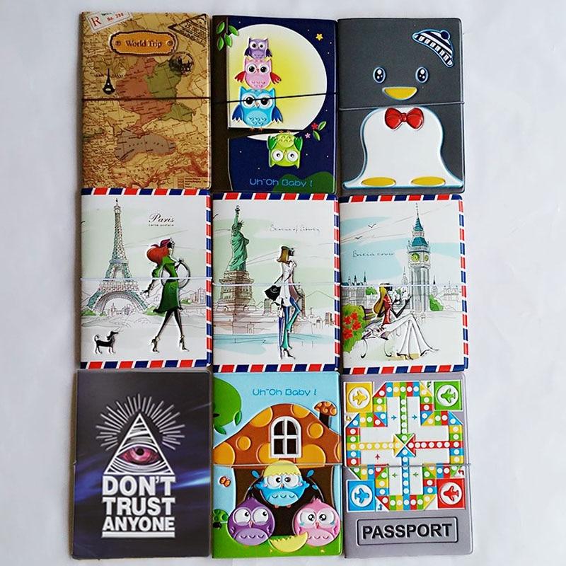 3D Design Fashion Cartoon World Trip Passport Cover ID Credit Card Bag PVC Leather Passport Holder 14*10CM цены онлайн