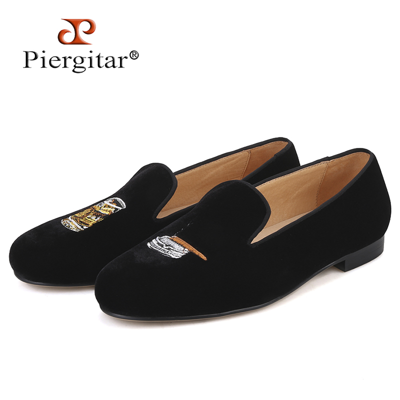 Piergitar 2019 New Handmade Men Loafers With Cigarette And Ashtray Embroidery Fashion Party And Wedding Men Smoking Slippers