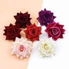 High quality flannel roses head christmas decoration for home wedding bridal accessories clearance diy a cap artificial flowers(China)