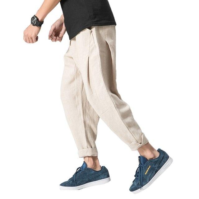 Male Joggers Linen Pants Men Harem Pants Men Cotton Linen