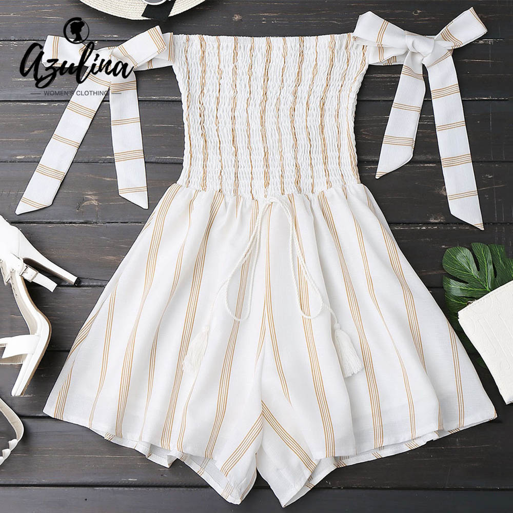 AZULINA Strapless Self Tie Striped Romper Casual Women Rompers   Jumpsuits   Summer Playsuits Off Shoulder Bowknot Sleeve Overalls