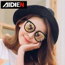 Myopia women sunglasses Polarized round mirror shades prescr