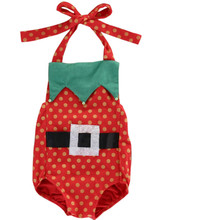 2016 Baby Girls Christmas Summer Bodysuit Sleeveless Backless Fashion Cotton Bodysuit Lovely Red Fashion Bodysuit