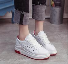 2017 New Fashion Style  Leather Women Casual Spring Summer Shoes Leisure Lace Up Girls Loafers Flats White Black Red