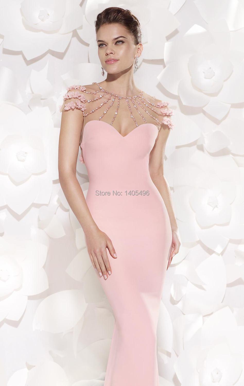 2015 nueva sirena vestido de noche rosa Tarik Ediz vestido de noche ...