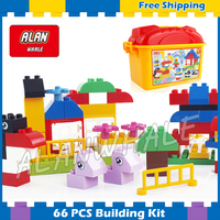 66pcs My First Creative Animal Park Model Big Size Building Blocks Action Figure Bricks Gifts Sets Compatible With Lego Duplo