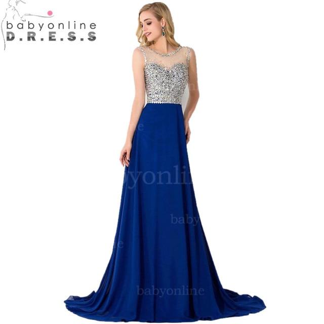 c407c57a0c Robe De Soiree Luxury Beaded Royal Blue Beaded Crystals Long Evening Dress  2017 Elegant Illusion Neck Chiffon Prom Party Dresses