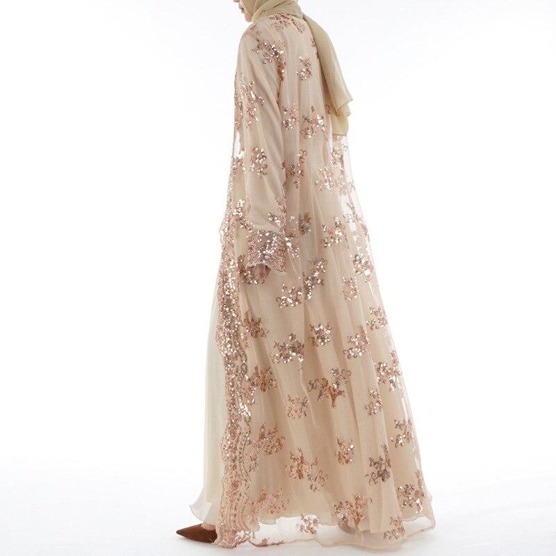 Offre spéciale femmes musulmanes longue jupe Cardigan de luxe Sequin broderie dentelle sans couture à l'extérieur pour Jilbab Abaya dubaï - 3