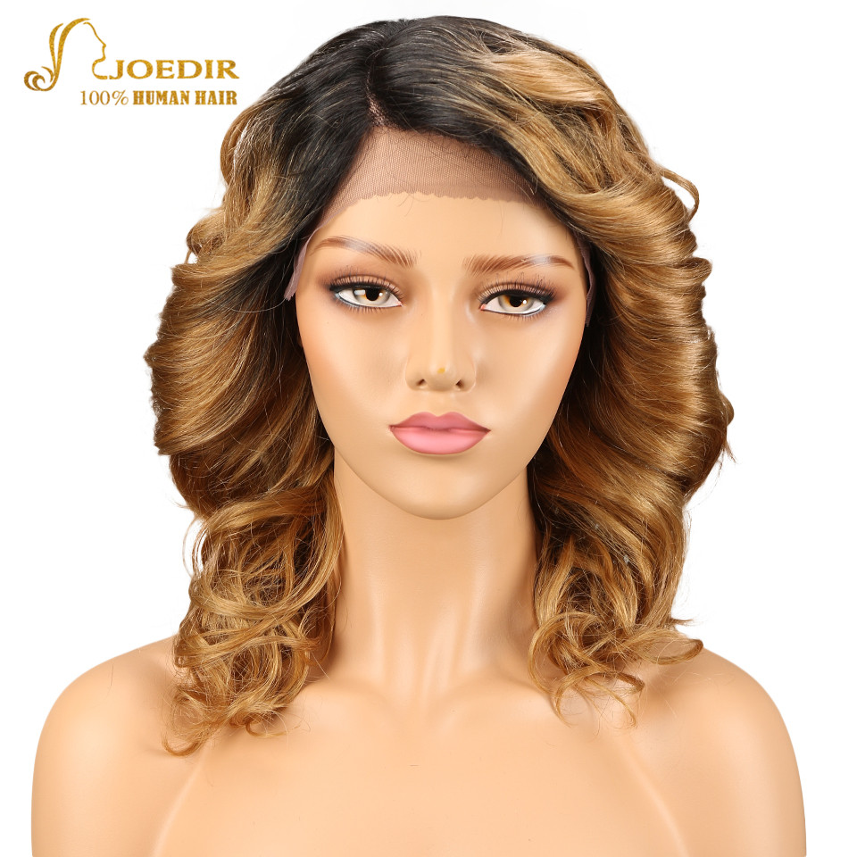 Joedir Brazilian Bouncy Curly Remy Hair Human Hair Wigs For Black Women Lace Front Wigs With Baby Hair Piano Color Blonde
