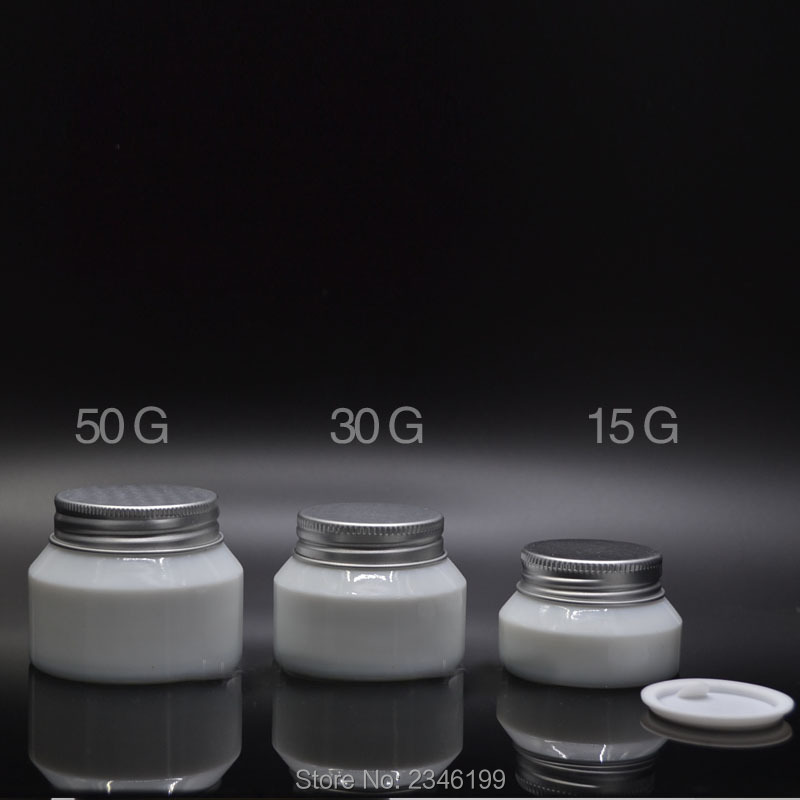 50G 30G 15G 10pcs/lot Elegant White Glass Cosmetic Cream Jar with Aluminum Lid, Superior Empty DIY Mask Container, Makeup Tool e cap aluminum 16v 22 2200uf electrolytic capacitors pack for diy project white 9 x 10 pcs