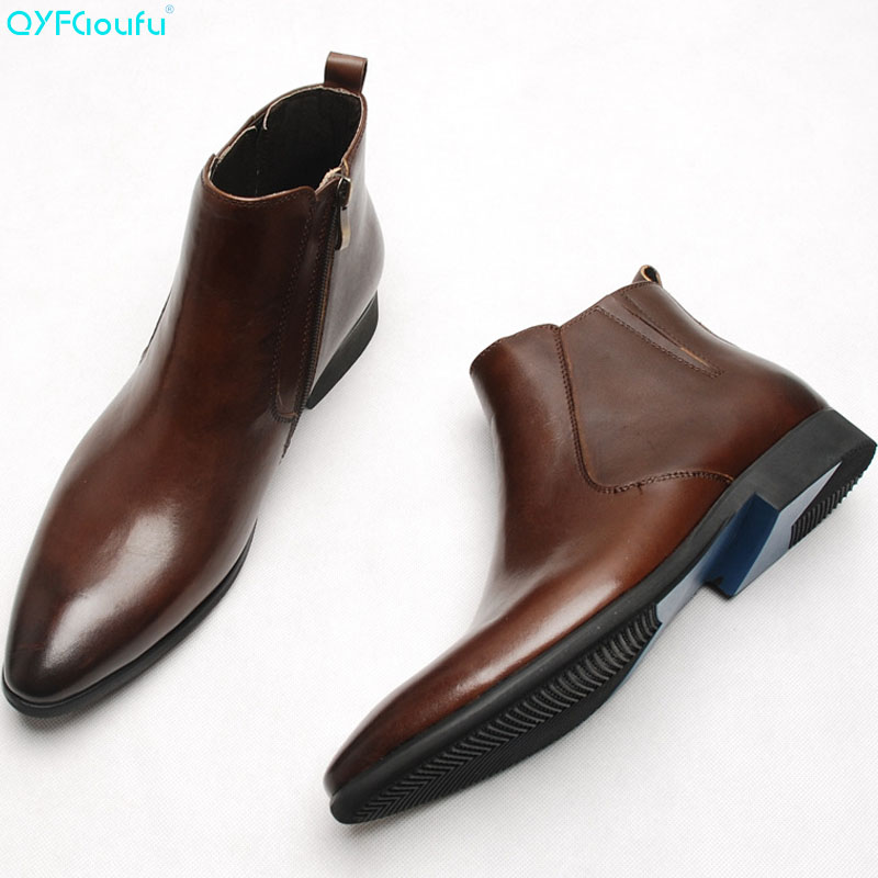 Men/'s Ankle Weave Knitted Leather Boots Oxford Dress Formal Shoes Chelsea Boots