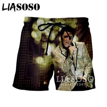 LIASOSO Sommer Neue Männer Frauen Shorts 3D Druck Sänger Elvis Presley Nette Lustige Strand Fitness Casual Fashion Hip-Hop Shorts A012-8