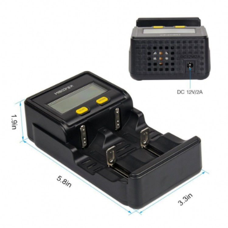 Miboxer C2-4000 2slots Intelligent LCD Screen Battery Charger for Li-ion/Ni-MH/Ni-Cd/LiFePO4 18650 26650 rechargeable batteries