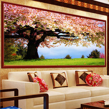 5D вышивка крестом с круглыми бриллиантами Sakura Tree Scenery Mosaic Diamond Вышивка Картина для декорации гостиной