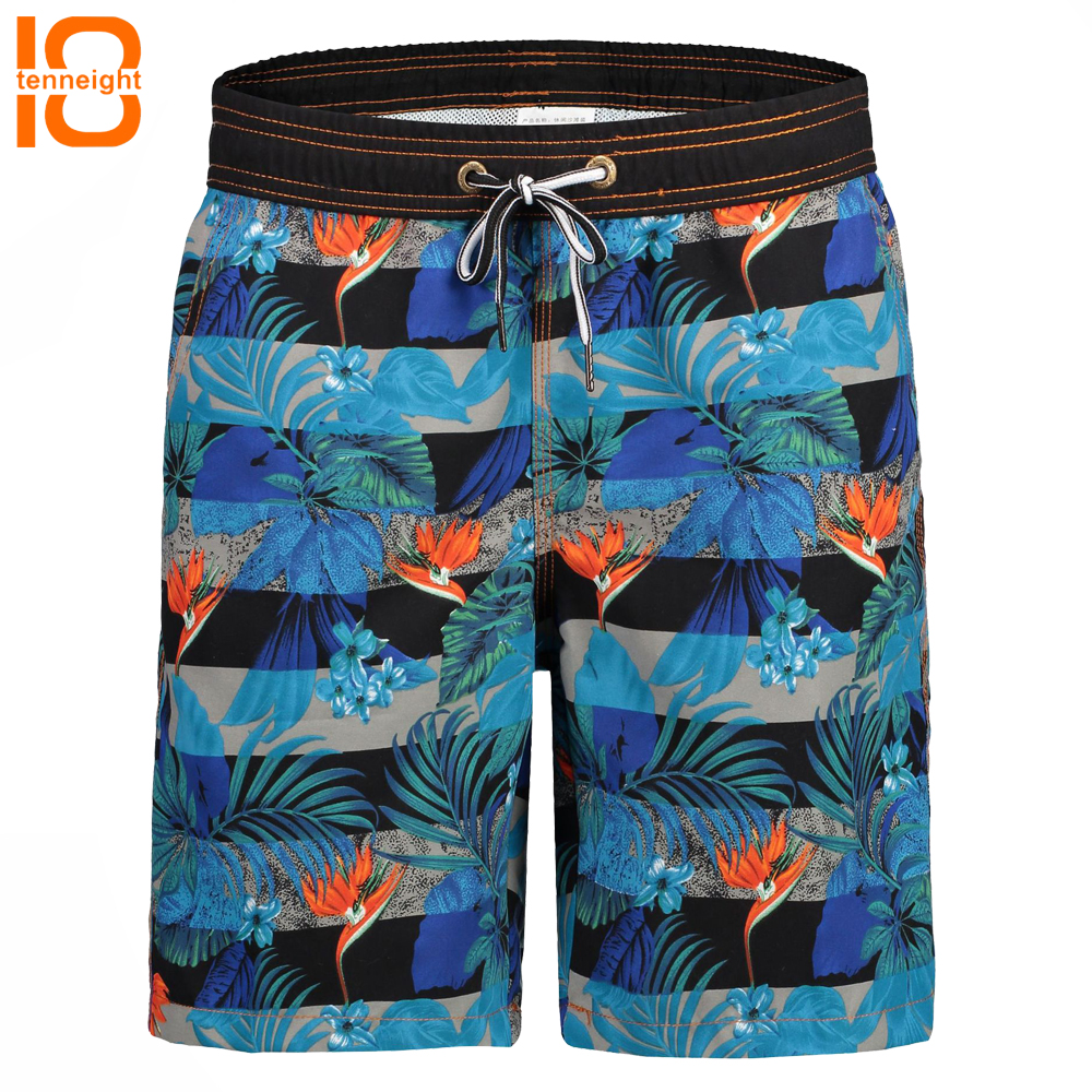 TENNEIGHT Quick Dry Men's Beach Pants Summer Surf Beach Shorts Sports Running gym Swimwear Swim Shorts Large Size with Lining image