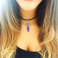 Natural Amethyst Pendant Necklace Black Choker Necklace Leather Rope chains Fashion Summer Jewelry Necklace Women