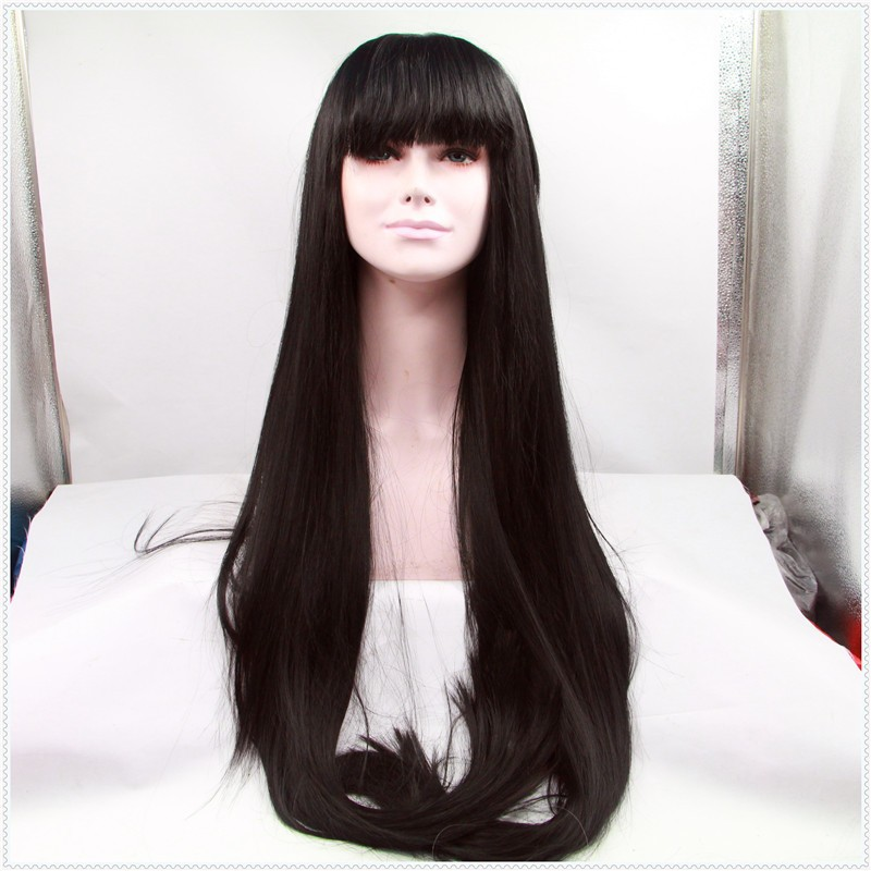 Natural Look Overlength Straight Black Asian Hair Synthetic Lace