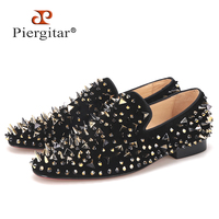 Piergitar New Arrive Men Suede Shoes With Gold And Sliver Rivet Fashion Party And Banquet Men