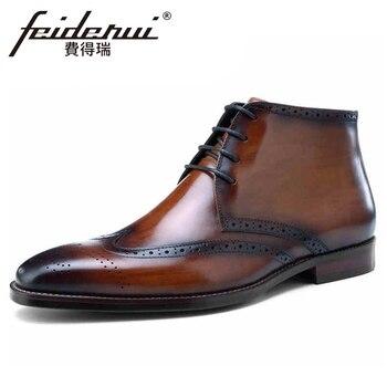 Botas de tobillo Brogue de cuero genuino talladas Vintage para Hombre Zapatos de montar de vaquero con punta redonda de lujo para hombre BQL170