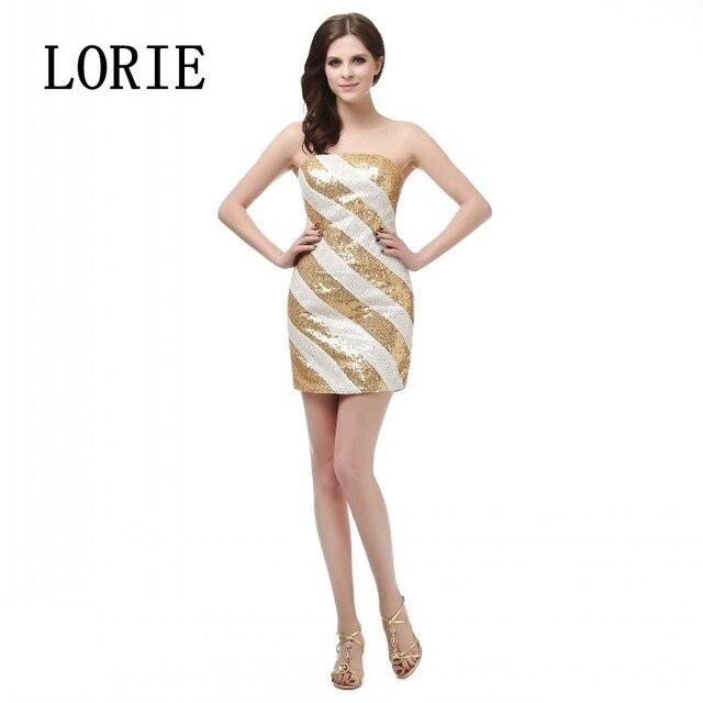 Vestido De Festas Curto 2016 Custom White And Gold Sequined Sexy Short Prom Dress Cocktail Dresses