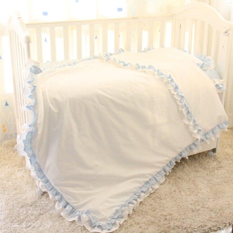 luxry Ruffled crib bedding set 3 pcs/set100% cotton baby bedding pink grey princess prince design for girls boys bedding jenni new pink solid ruffled chemise l $39 5 dbfl