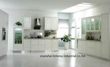 PVC/vinyl kitchen cabinet(LH-PV009) solid wood curved shape kitchen cabinet lh sw089