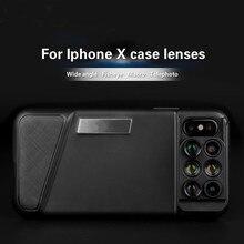 Vendas Hot! Para o iphone x lente da câmera dupla 6 em 1 olho de peixe grande angular macro lente para iphone x telescópio zoom lentes + caso
