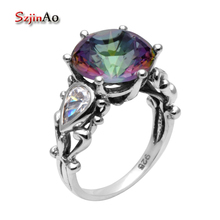 Szjinao Christmas 925 sterling silver rings for women flowers antique jewelry mystic rainbow topaz wedding rings vintage style