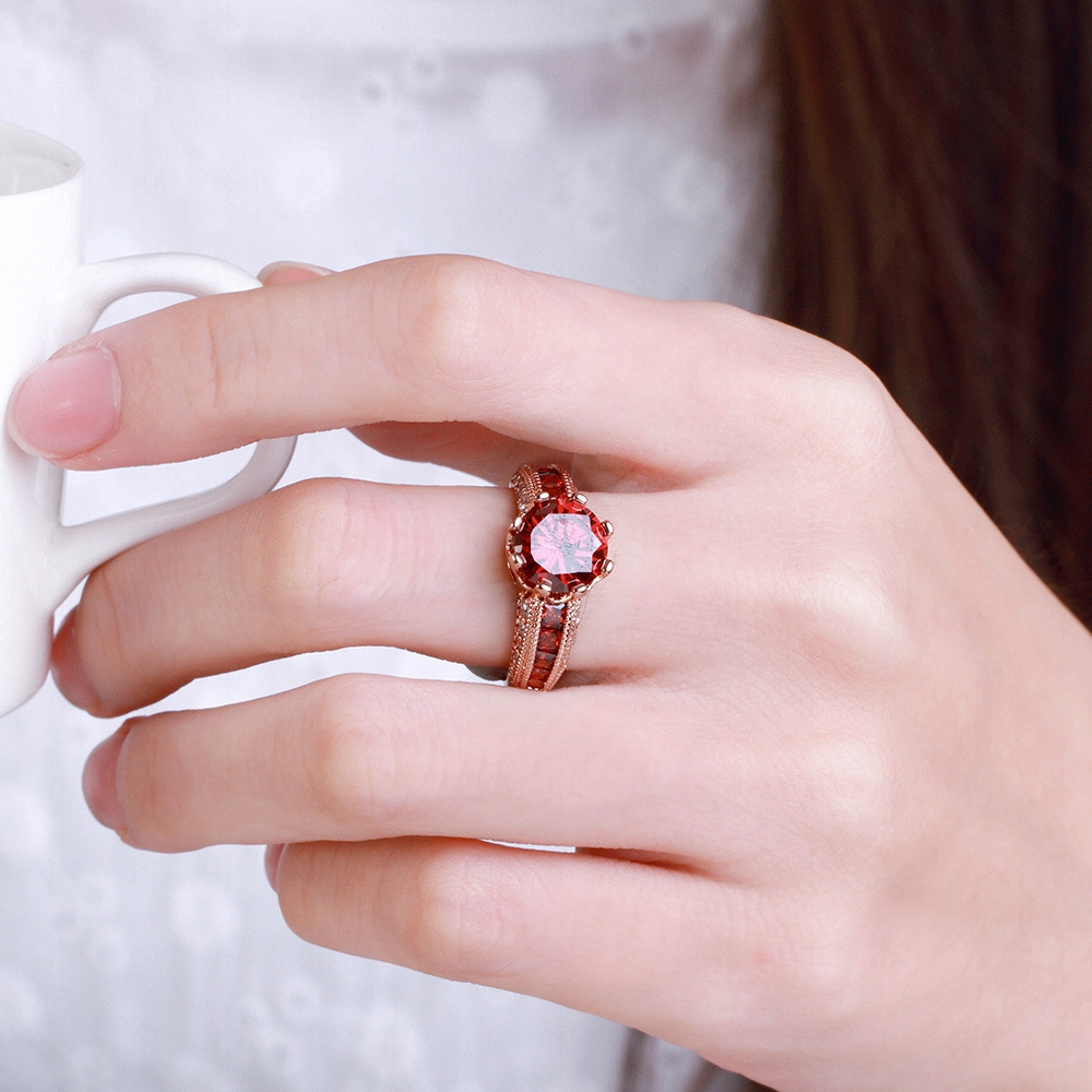 GR.NERH Design Vintage Round Cut Luxury Red Engagement Rings Gold ...