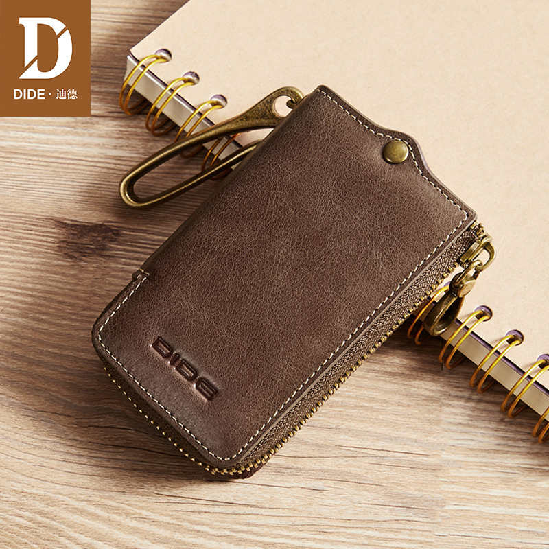 DIDE 2019 New Keychain Covers Zipper Key Case Genuine Leather Wallet Men Small Coin Purses Car key Cow Home Keys Bag