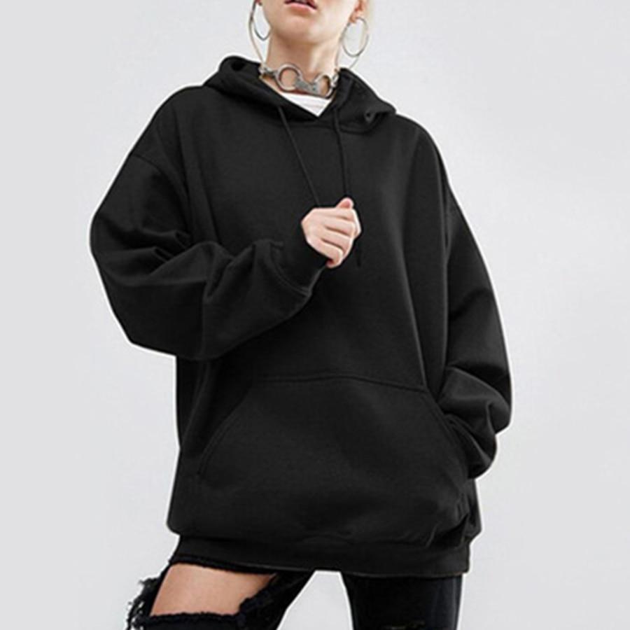 Autumn Simple Solid Keep Warm Hoody Woman O-Neck Long Sleeve Loose Stylish Hoody Women Black Top Women'S Clothing Plus Size 5XL