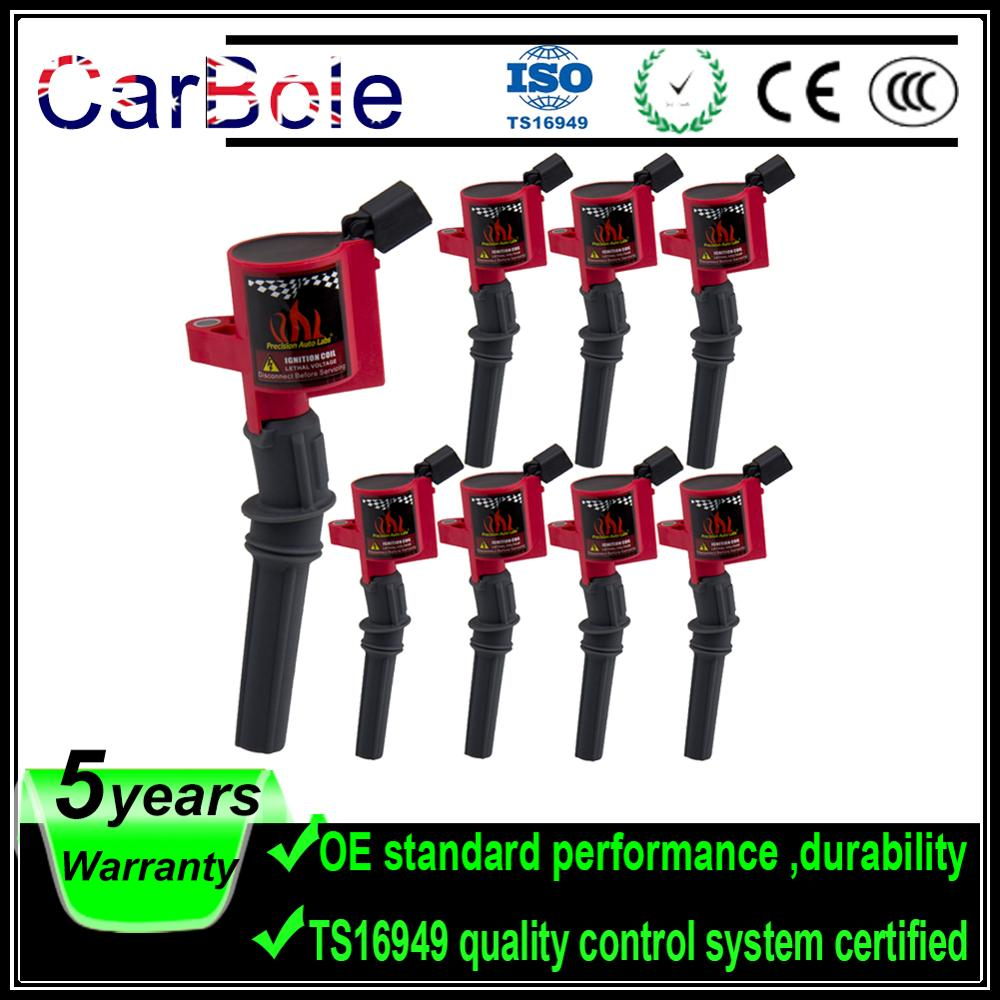 Pack of 8 Curved Boot Ignition Coil for Ford for Lincoln for Mercury 4.6L 5.4L V8 Compatible with DG508 C1454 C1417 FD503