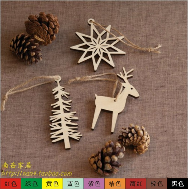 3 Pcs/ wood cutout deer/Christmas tree/snowflake/hanging home decor/party/festival//birthday/cute/craft banner/wall art//pd061