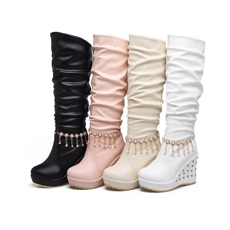 blanc Sur Garder 2018 Chaussures Campus Femmes Haute noir Rivet Mode Slip Femme Simple Chaud Smeeroon Bottes Au Hauts Pour rose Genou Beige Talons D'hiver gAqCF