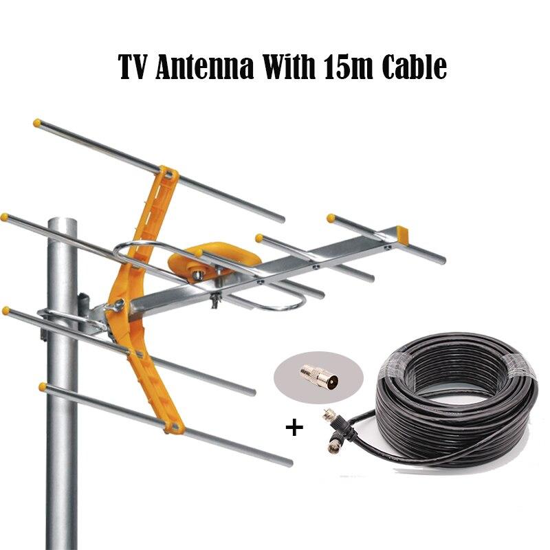 HD digital al aire libre Antenas de televisión con cable coaxial para dvbt2 HDTV isdbt ATSC alta ganancia señal fuerte al aire libre Antenas de televisión