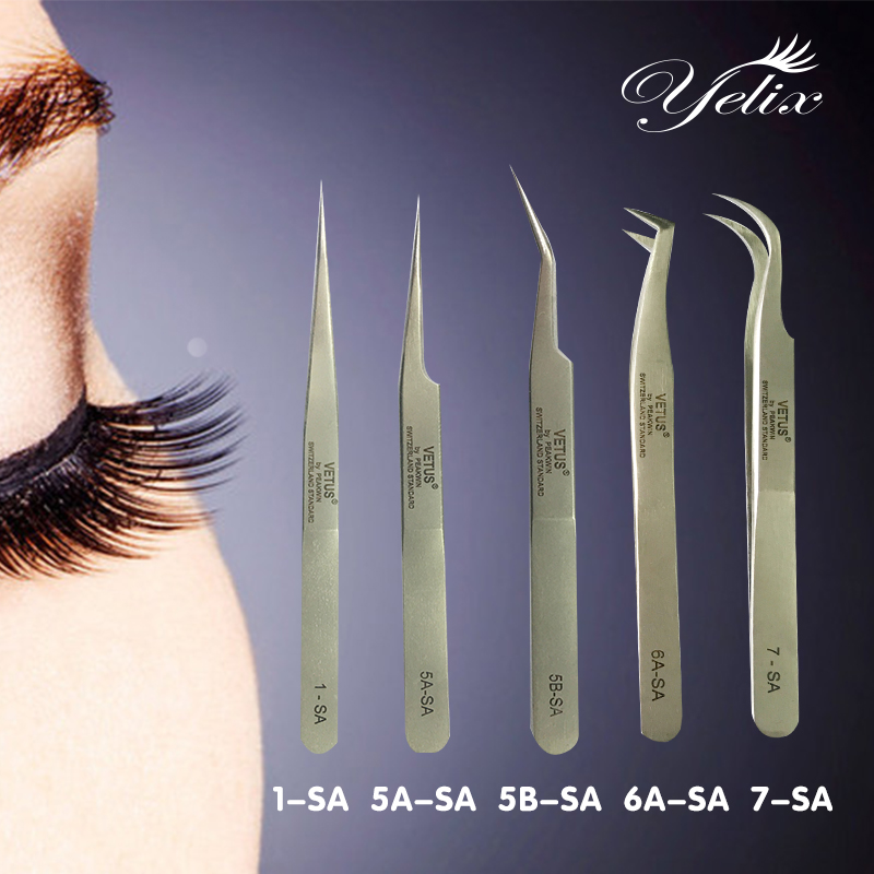 5pcs Makeup Super Precision Stainless Steel SA Tweezers set Eyelash Extension 3d Eyelashes Extensions Vetus Tweezer Tools Pincet vetus precision individual eyelash tweezers eyelashes tweezers professional lashes extension tweezers tool pink 4 pcs set