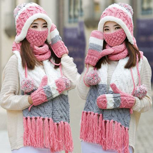 40c8f9cb0a9 Woman Winter Hat and Gloves Sets Imitation Wool Fashion Women Hat Scarf Gloves  Set Solid Hat and Scarf Set for Women Knitted