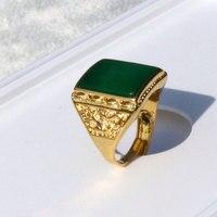 22a6e61a961b Anillo de los hombres Dragón Verde pesado 24 k sólido oro tamaño abierto de  piedra de