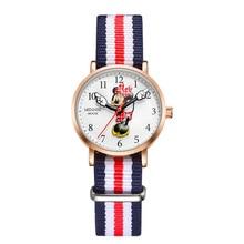 Disney брендовые Детские наручные часы для мальчиков и девочек, кварцевые парусиновые водонепроницаемые часы с Микки Маусом для мальчиков и девочек, студенческие часы