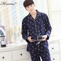 2017-Men 's new cotton cardigan long - sleeved lapel pajamas printed pajamas leisure pajamas suit R212